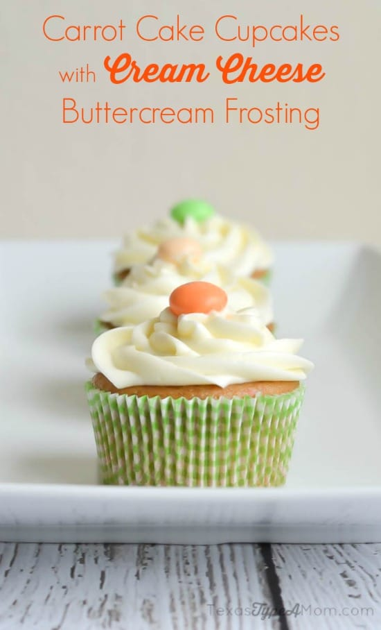 with a Carrot Cake Cupcakes with Cream Cheese Buttercream Frosting ...